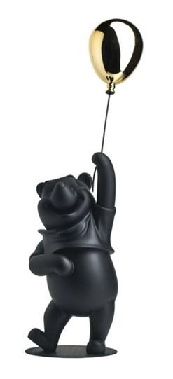 Winnie the Pooh Matte Black & Chromed Gold by Leblon Delienne - Limited Edition Sculpture